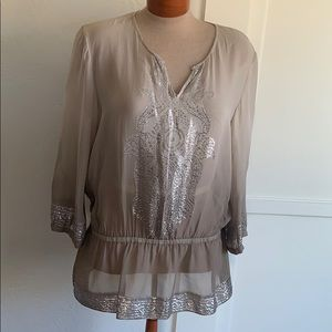 Chico's Sheer Cinched Blouse